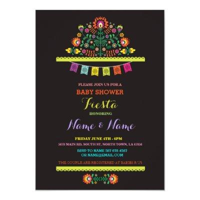Fiesta Mexican Girl Boy Floral Invite