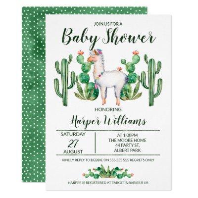 Fiesta Llama Watercolor Baby Shower Invitation