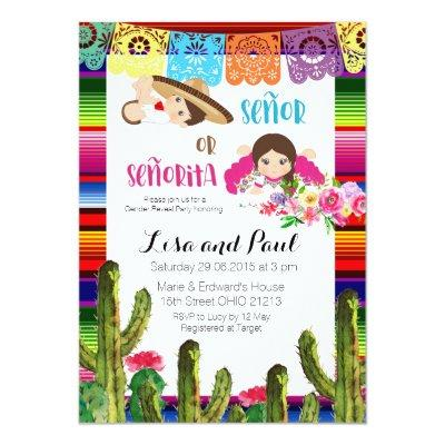 Fiesta Mexican Gender Reveal Baby Shower Invite