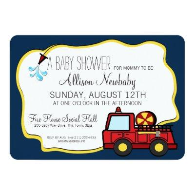 Fire Engine and Hose Baby Shower Invitation