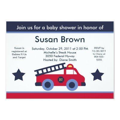 Fire Engine/Truck Baby Shower Invitation