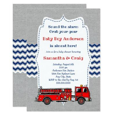 Fire Truck Baby Baby Shower Invite, room on back Invitation