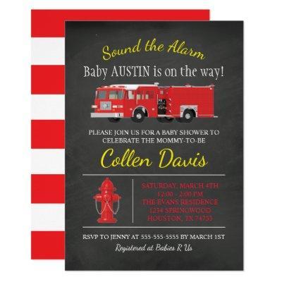 Fire Truck Baby Shower Invitation