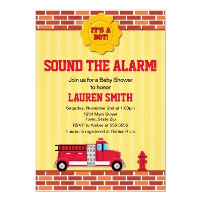 Fire Truck Baby Shower Invitation Firefighter Boy