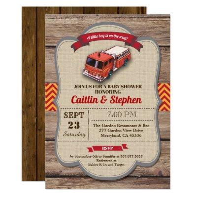 Fire truck baby shower invitation. Vintage red Invitation