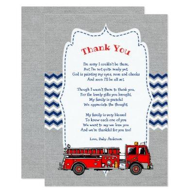 Fire Truck Baby Shower thank you note Invitation