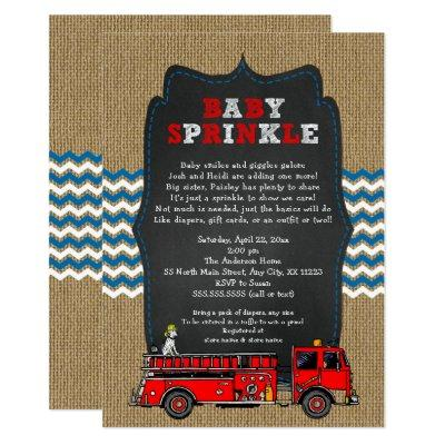 Fire Truck Baby Sprinkle, boy baby shower Invitations
