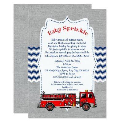 Fire Truck Baby Sprinkle Invitations, navy gray Invitations