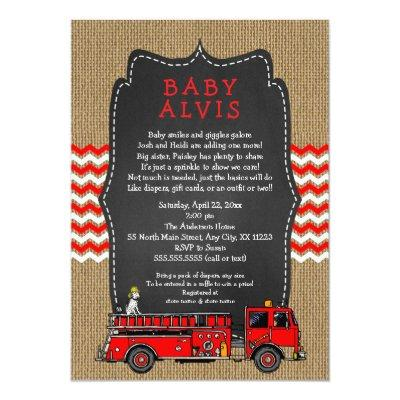 Fire Truck Baby Sprinkle WITH NAME boy baby shower Invitation