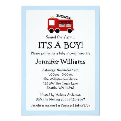 Fire Truck Boy Invitations