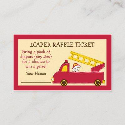 Fire Truck Diaper Raffle Tickets Enclosure Card