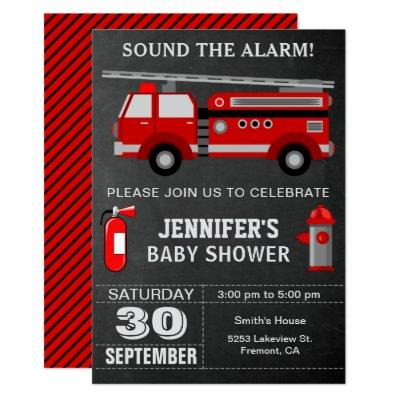 Fire Truck Firefighter Baby Shower Invitations