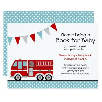 Fire Truck Polka Dot Baby Shower Bring a Book Invitation
