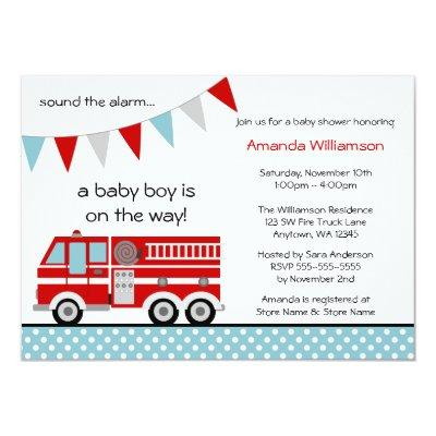 Fire Truck Polka Dot Banner Boy Invitations