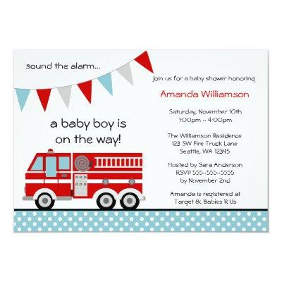 Fire Truck Polka Dot Banner Boy Baby Shower Invitations