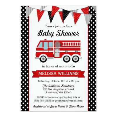 Fire Truck Polka Dot Bunting Baby Shower Invitations