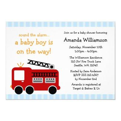 Fire Truck Stripes Boy Baby Shower Invitations