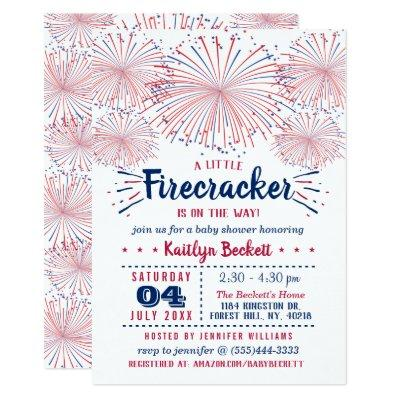 Firecracker On The Way! 4th Of July Baby Shower Invitation