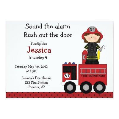 Firefighter girl birthday Invitation