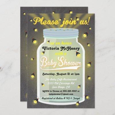 Firefly Chalkboard Mason Jar Baby Shower Invites