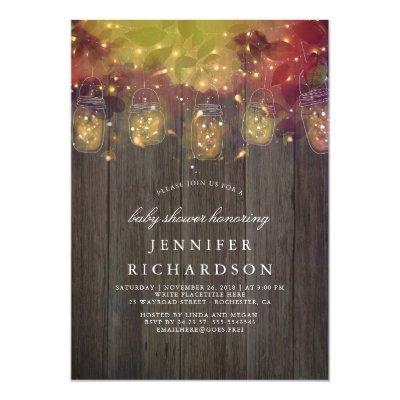 Firefly Lights and Mason Jars Rustic Baby Shower Invitation