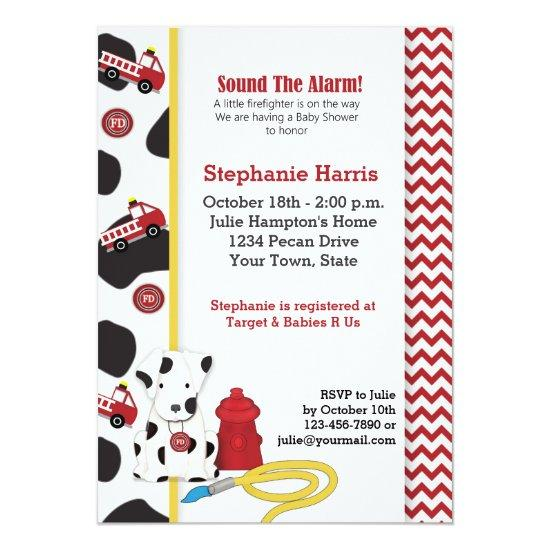 Fireman Baby Shower Invitations