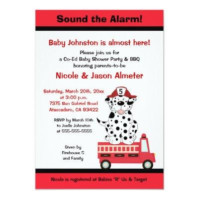 Firetruck and Dalmatian Engine 27 Baby Shower Invitations