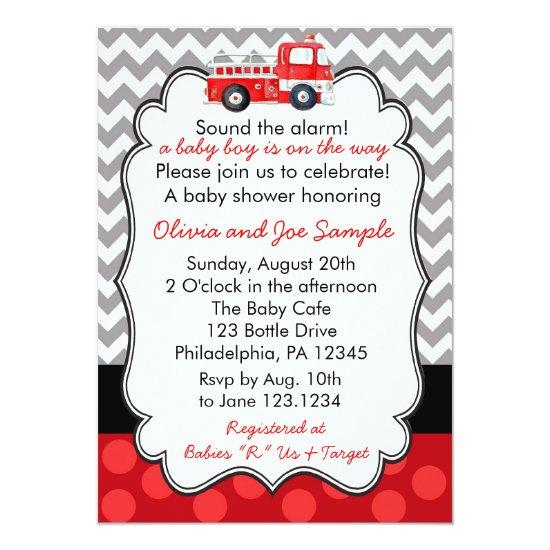 Firetruck Baby Shower Invitations
