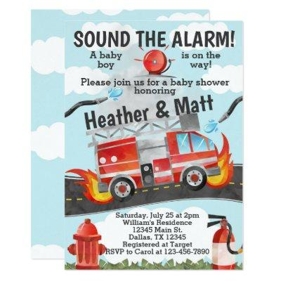 Firetruck Baby Shower Invitation, Fireman Invite