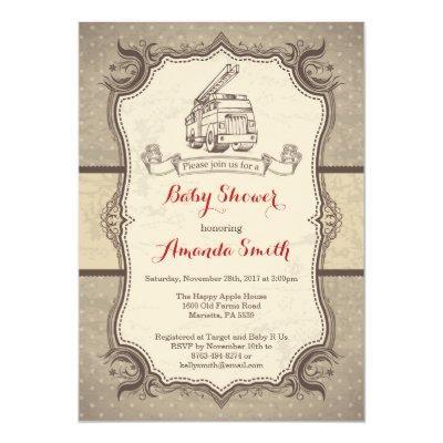 Firetruck Baby Shower Invitation Vintage Retro