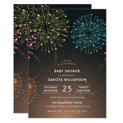 Fireworks Party | Modern Typography Baby Shower Invitation