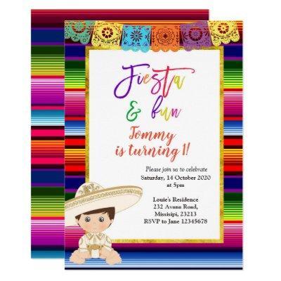First Fiesta Birthday invitation Mexican blanket