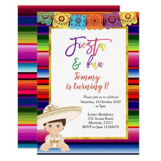 1a18b3462e97 First Fiesta Birthday invitation Mexican blanket