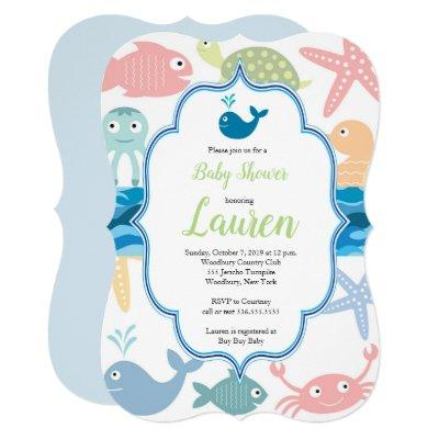 Fish and sea creatures baby shower invitation. invitation
