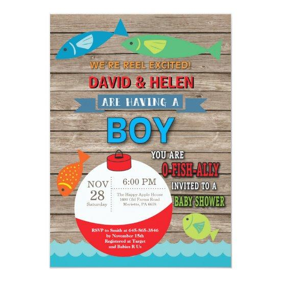 Fishing Baby Shower Invitation Boy Fish