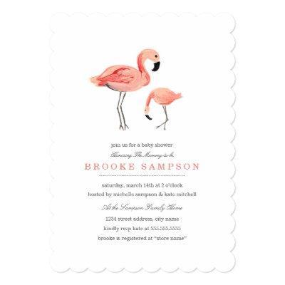 Flamingo Baby Shower Invitations