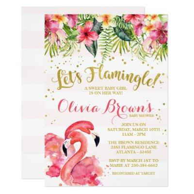 Flamingo Baby Shower Invitations Let's Flamingle