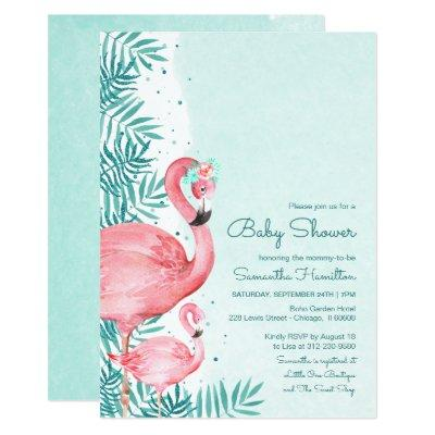 Flamingo & Palm Leaves Watercolor Baby Shower Invitation