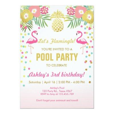 Flamingo Pool party Invitations Tropical