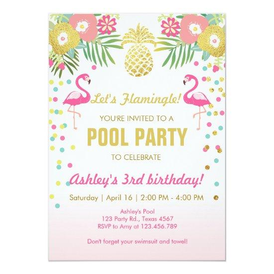 Flamingo Pool party Invitations Tropical – Flamingo Party Invitations