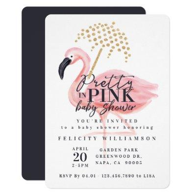 Flamingo Pretty in Pink Baby Shower Invitation