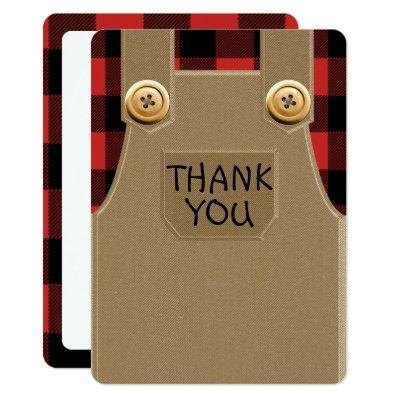 Flannel and Overalls Thank You Card