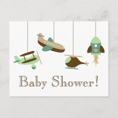 Flight Mobile Baby Shower Invitations Postcard