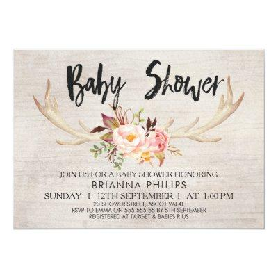 Floral Antlers Boho Baby Shower Invitations