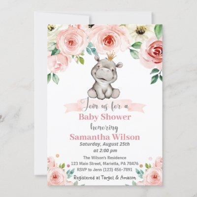 Floral Baby Hippo Princess Baby Shower Invitation