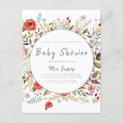 Floral Baby Shower Baby Girl Invitations