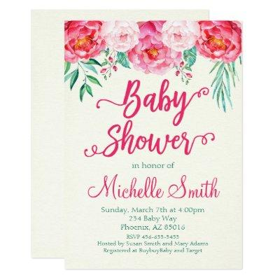 Floral , Baby Shower Invite