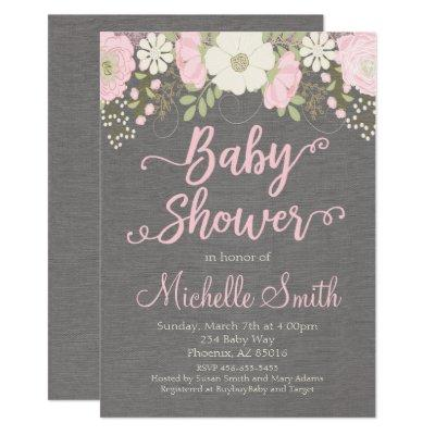 Floral Baby Shower Invitations, Boho Invitations