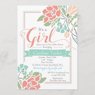 Floral Baby Shower Invitation - Coral and Teal