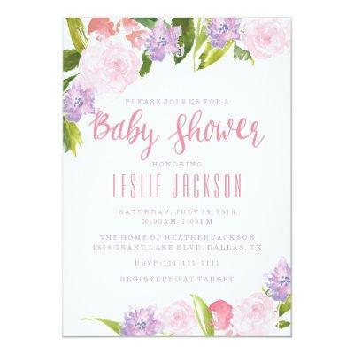 Floral Baby Shower Invitation Watercolor Flowers